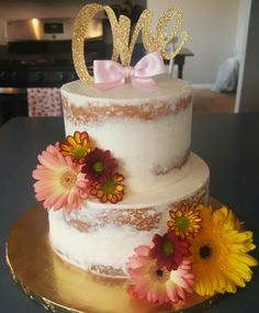 Naked cake first birthday cake by Bake My Day