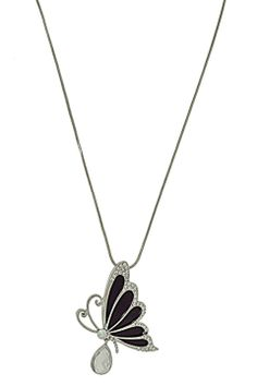 Glam & Glitter Butterfly Pendant Necklace in Black - Beyond the Rack