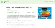Some Facts one must know about copyright UK!!