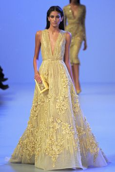 2015 New Luxurious Evening Dress Sexy V Neck Strap Elie Saab For Sale Lace Hand Work Flowers Yellow Runway Couture Prom Dress