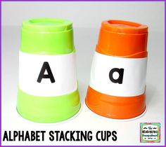 Last year I made a cup stacking activity for our math centers. The cups were labeled and the students had to stack them and count to They. So I made sight word cups … Alphabet Activities, Language Activities, Preschool Activities, Teaching Letter Recognition, Teaching Letters, Kindergarten Smorgasboard, Homeschool Kindergarten, Teaching Schools, Creative Activities