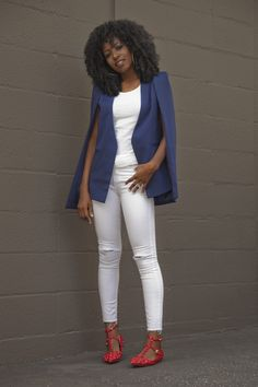 Cape Blazer + Tank + Ripped Jeans courtesy of Style Pantry Winter Outfits, Casual Outfits, Fashion Outfits, Fashionable Outfits, Fashion Styles, Black Women Fashion, Womens Fashion, White Ripped Jeans, Flats Outfit