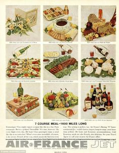 """Sample menu from Air France in the 1960s. From """"Barthes' 'Ornamental Cookery' in the Age of Foodstagram"""" on Scenes of Eating."""