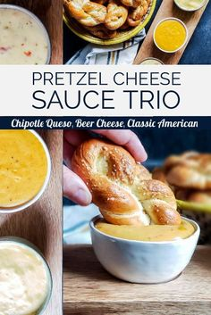 This Pretzel Cheese Sauce Trio recipe is the perfect appetizer sampler featuring Beer Cheese, Chipotle Queso, And Classic American Cheese D. Beer Cheese Sauce, Homemade Cheese Sauce, Queso Cheese, Super Bowl Party, Appetizer Recipes, Snack Recipes, Pretzel Dip Recipes, Crockpot Recipes, Party Appetizers