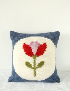 Retro tulip cushion vintage crochet pattern red flower pdf pattern intarsia graph seat pillow modern petrol blue