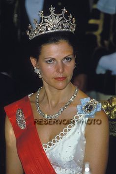 Queen Silvia wore this tiara for one of the dinners during the State Visit from France in May 1984.