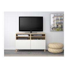 BESTÅ TV stolek s dvířky - vz. bíle moř. dub/Lappviken bílá - IKEA