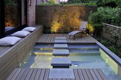 The Mini Spa design by Terramanus. This mini spa design is an urban wellness oasis particularly for the tiny sites of approximately 120 sqm of terraced… Small Indoor Pool, Small Pools, Spa Design, Design Ideas, Patio Design, Small House Garden, Home And Garden, Ideas De Piscina, Mini Spa