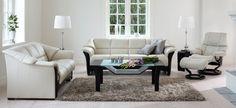 Ekornes Oslo 4 Seat Sofa, 3 Seat Loveseat; Stressless Reno Recliner; Windsor Coffee Table; Corner Table