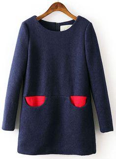 Navy Long Sleeve Contrast Pockets Zipper Dress - Sheinside.com