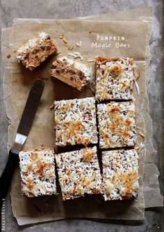 Pumpkin Magic Bars via Bakers Royale