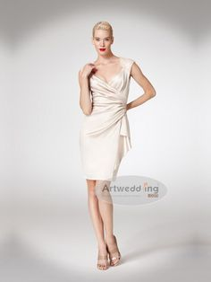 Cap Sleeves Mini Chiffon Silk Like Satin Bridesmaid Dress