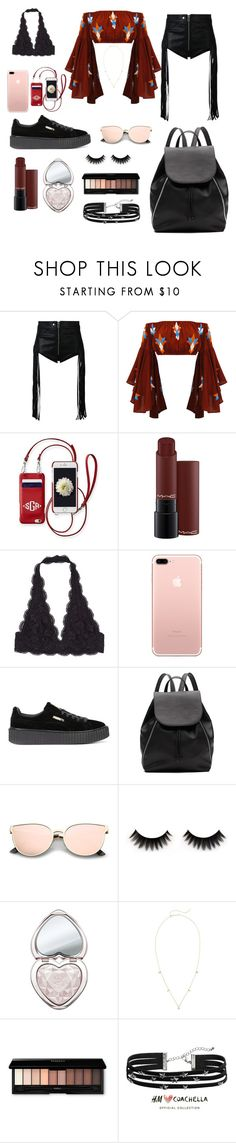 """Coachella"" by durtedenise ❤ liked on Polyvore featuring Diesel, Mochi, Mark & Graham, MAC Cosmetics, Puma, Witchery, Too Faced Cosmetics, ZoÃ« Chicco and H&M"