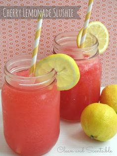Cherry Lemonade Raspberry Slushie - this sounds like a refreshing drink for a hot summer day. Yum!
