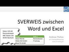 Word und Excel - SVERWEIS von Word nach Excel und wieder zurück - Dynami...