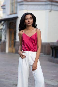 00d7903f30f Pink bias cut silk-satin cami top womens Fuchsia vest top Pure silk camisole  amaranth