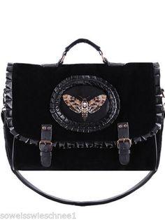 Restyle-Handtasche-Leder-Samt-Moth-Steampunk-Tasche-Satchel-Gothic-Bag-A4-Black