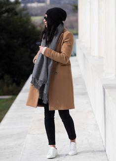 Coat: SEZANE Scarf: ACNE Jeans: MOTHER DENIM Sneakers: AXEL ARIGATO Beanie: HALOGEN Sunglasses: RAY BAN