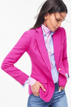 Crew Rhodes Blazer in Italian Wool, Boy Shirt in End-On-End Cotton, Italian Featherweight Cashmere Turtleneck and Lookout High-Rise Jean in Chandler Wash J Crew Outfits, Rosa Blazer Outfits, Pink Outfits, Summer Outfits, Fashion Outfits, Pink Fashion, Fashion 2020, Style Fashion, J Crew Style