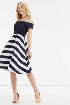 Satijnen Bardot-jurk met strepen