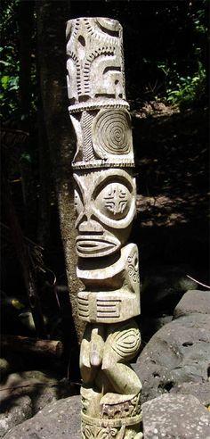 Marquesan Tiki Tiki Pole, Tiki Tiki, Tiki Hawaii, Tiki Statues, Tiki Decor, Tiki Lounge, Tiki Mask, Atelier D Art, Marquesan Tattoos