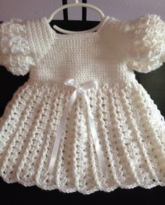 Crocet Baby Dress Baptism Blessing Christening by GoingCrafty