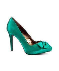 Green Satin pumps
