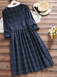 Vintage Plaid Print Patchwork Long Sleeve Dresses For Women - Women Outfits Stylish Dress Designs, Stylish Dresses, Casual Dresses, Frock Fashion, Women's Fashion Dresses, Dress Outfits, Modest Fashion, Casual Frocks, Vintage Girls Dresses