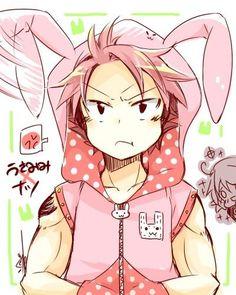 Natsu Dragneel in a bunny suit! ADORABLE!!:
