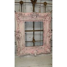 Pink frame ornate shabby chic wood hand painted chippy cracked distressed wall decor Anita Spero