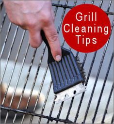 Grill Cleaning Tips   Recipe #1: 1/8 cup washing soda mixed with 1 quart warm water. Soak in mixture for several hours or overnight. Use a stiff brush after soaking then rinse well with water.  #2: Mix baking soda and water to make a paste, apply and leave overnight. Use a stiff brush the next morning and rinse well.  #3: 1/4 cup laundry or dishwasher detergent and 1 quart of warm water. Let soak for several hours in mixture then wash, rinse well with water.