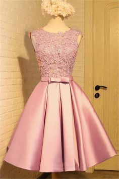 A Line Round Neck V Back Short Dusty Rose Satin Lace Prom Dress Bow Sash