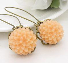 Peach earrings antique bronze long resin flower pale by WickedRuby, $20.00