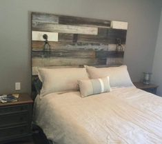 Reclaimed Wood Headboard distressed farmhouse lavender lullabies rustic old wood bed king queen full twin cottage by LavinderLullabies on Etsy Reclaimed Wood Headboard, Grey Bedroom With Pop Of Color, Camas King, Headboard Designs, Headboard Ideas, Coastal Bedrooms, Rustic Bedrooms, Master Bedrooms, Painted Cottage