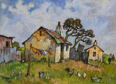 Conrad Theys 25 x 34 Pastel Werkershuisies Pastel Landscape, Landscape Art, Pastel Drawing, Pastel Art, Classic Paintings, Beautiful Paintings, House Painter, Cottage Art, South African Artists