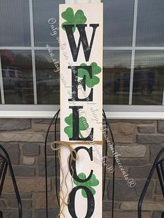 St Patrick's Day decor, Rustic welcome signs, Welcome porch signs, Front por… - Modern Wooden Welcome Signs, Porch Welcome Sign, Wood Signs, Rustic Signs, St Pattys, St Patricks Day, Saint Patricks, Porch Wood, Front Porch Signs