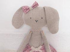 Handmade linen rabbit doll by Taffettà.
