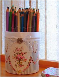 Карандашница, Ваза и подсвечник. Идеи декора.  Pencil holders, vase and candleholder. Decor ideas.