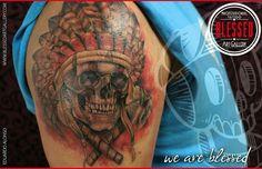 Cráneo con tomahawk por Eduardo Alonso, los esperamos en el estudio!