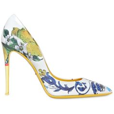 Dolce & Gabbana Women 105mm Kate Ceramica Lemon Patent Pumps ($925) ❤ liked on Polyvore featuring shoes, pumps, heels, scarpe, zapatos, leather sole shoes, patent leather pumps, high heel pumps, dolce gabbana shoes and pointed toe shoes