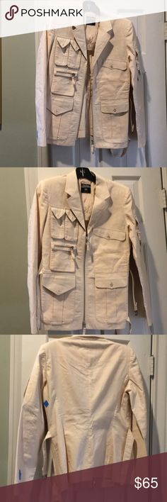 Vintage Jean Paul Gaultier Jacket I am selling a vintage Jean Paul Gaultier jacket in beige, size 42 Italy or size 8 US. To me, it fits more like a size 6 US but the label says 8 US (I usually wear size 8 US and 44 Italian). It's in good vintage condition but has several little stains throughout (see photos). It's been dry cleaned. I barely noticed the stains but someone pointed them out to me and they are there (several little stains) It's a great Jacket for running around. It's been priced…