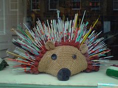 "Giant crochet hedgehog ""pincushion"", complete with knitting needle quills - Prick Your Finger via onthecuspofcraft.blogspot.com"