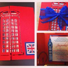 London theme Sweet sixteen, laser cut, thermographic printing by margarita@arteenpapel.mx #lasercut #quinceañera #invitations