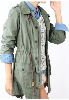 Armygreen Military Style Hooded Parka Coat, $60
