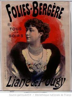 Folies-Bergère.Tous les soirs, Liane de Pougy. Poster, 1894