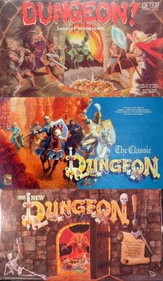 Dungeon! is a adventure board game first designed by David R. Megarry, Gary Gygax, Michael Gray, Steve Winter and S. Schwab, published by TSR, Inc.[1975 ] Dungeon! simulates some aspects of the Dungeons & Dragons role-playing game which was released the year before, although Dungeon! was already in development when it was released. Updated editions in 1989 and 1992.