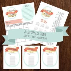 2016 Primary theme Monthly, yearly calendar & Door Signs  instant download 2 zip file which includes 5x7 door signs 2 to a sheet 1 blank monthly