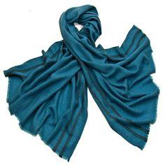 Etole laine fine bleu turquoise tissée avec rayures - Etole/Etole laine - Mes Echarpes