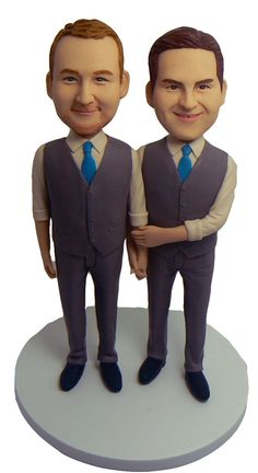 Gay Wedding Cake Topper - Two Grooms by My Memory Dolls