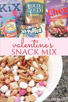 A fun way to incorporate Valentine's Day into snack time! Could bag it up for your kids valentines, have it for a family movie night, or for just a fun after school snack! So easy to make, plus the substitutions are endless! Valentine Desserts, Valentines Day Treats, Holiday Treats, Holiday Recipes, Valentine Party, Valentine Preschool Party, Valentine Nails, Birthday Treats, Easter Recipes